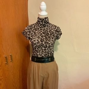 KENNETH COLE nylon blouse leopard print Size Small